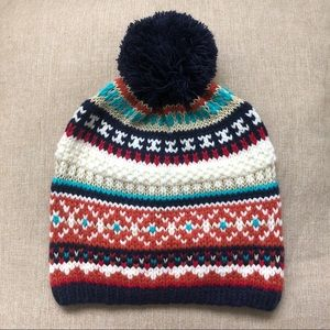 NEW AE Aerie Fair Isle Knit Pom Pom Beanie Hat